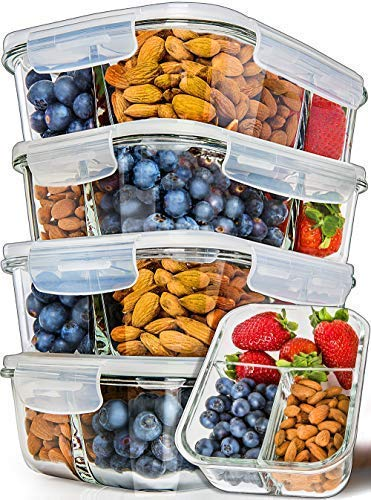 5 Pack Glass Prep Containers Compartment