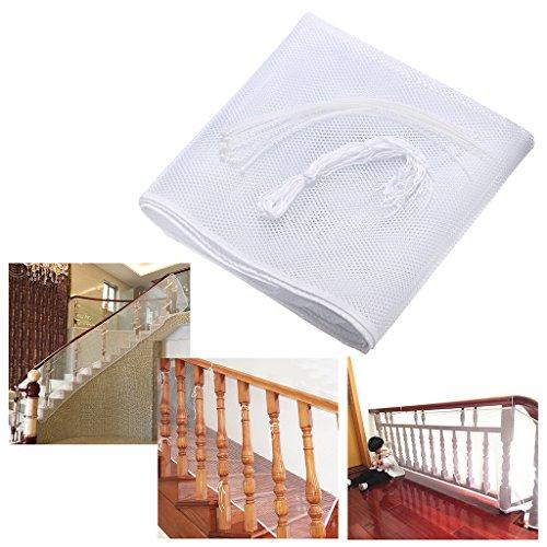 BTSKY Red de Seguridad Malla de Seguiridad Blanca para Protección a Niños y Bebés, para Fijar en las Barandillas de Escaleras y Balcones, Impermeable, Duradera Tamaño:300 x 77cm