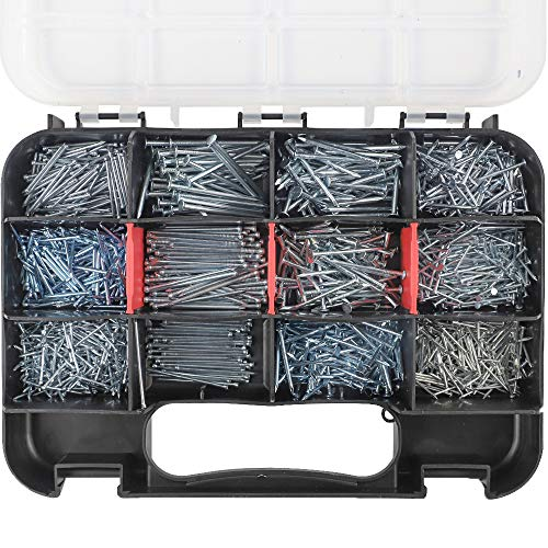 HongWay 1500pcs Hardware Nail Assortment Kit, Galvanized Nails, 12 Size Wire and Brad Nails Assortment