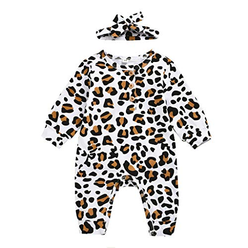 jerferr Neugeborenes Baby Leopard Overall Strampler + Stirnband Outfits Kleidung