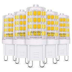 Albrillo Bombillas LED G9 de 3.5W, 40 W Bombilla Halógena Equivalente, Blanco Cálido 3000K, 400LM, Sin Parpadeos, 360° Ángulo de Haz Omni Directional, No Regulable, Pack de 5 Unidades