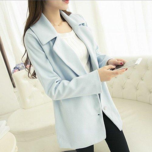 NSFY Winter Slim Plus Baumwolle Gefütterte Jacke Warm War Dünn Langer Mantel Trenchcoat,Hellblau,XL