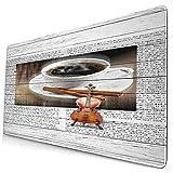 Großwild-Mauspad,Kaffee und Geige auf Retro Holzbrett abstrakte Malerei3,Rutschfester Schreibtisch-Pad-Schutz,Schreibtisch-Schreibmatte für Desktop,Computer-Laptop,15.8'x29.5'