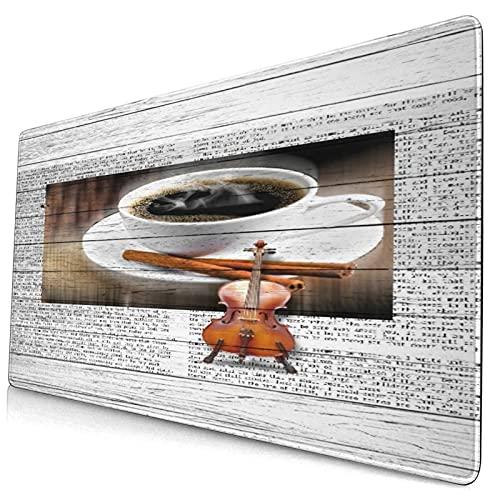 Alfombrilla de ratón para juegos grandes,Café y violín en tablero de madera retro pint,Protector de almohadilla de escritorio antideslizante,Tapete de escritorio para escritorio,computadora portátil