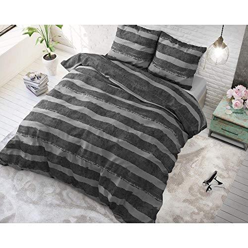 SleepTime Bettwäsche Baumwolle Mari, 200cm x 220cm, Mit 2 Kissenbezüge 60cm x 70cm, Anthrazit