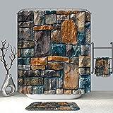 XCBN Cortinas de Ducha de Verano 3D murallas de Piedra realistas patrón de Pared de ladrillo Cortina de baño Lavable Productos de baño A2 180x180cm