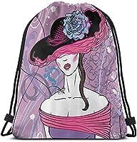 タコ油絵巾着バックパックジムサックシンチバッグストリングバッグ-5