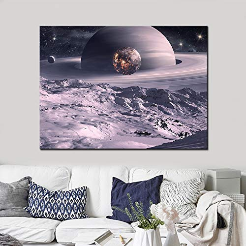 jiushice Rahmen Fantastic Planet Wall Art Posters for Living Room HD Print Canvas Space Landscape ng Home Decor Pictures 60x90cm