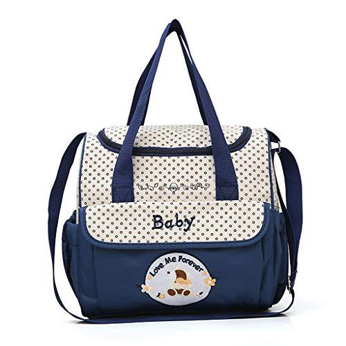 Snakell 5 PC Frauen Multifunktions Mummy Bag Handtaschen Mutterschaft Baby Carriage Bag Baby Zwillingstasche Wickeltasche Babytasche mit Rucksackfunktion nachhaltig inkl. Wickelzubehör