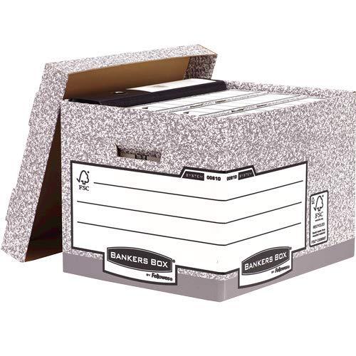 Bankers Box Archivbox mit Deckel, System Serie, extra stabil, für Ordner/Ringbücher/Archivschachteln/Hängemappen, aus 100% recycelter Wellpappe, Farbe: grau/weiß, 10 Stück