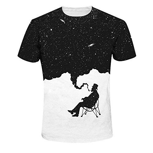 Quceyu Hommes 3D Creative T-Shirt à Manches Courtes imprimé T-Shirt Occasionnel Graphique (Medium, Black1)