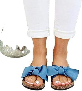B/H Sandales Natation Homme,Pantoufles à nœud de Grande Taille Femme, Chaussures décontractées de Plage à Fond Plat-Bleu_3...