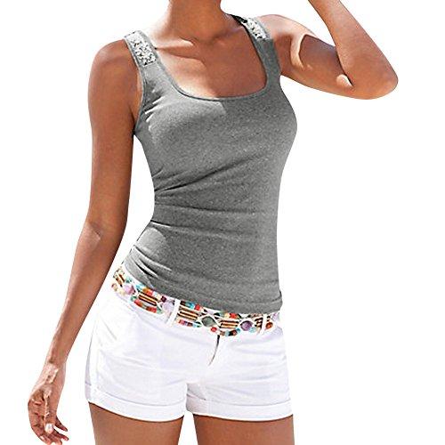 Camisetas sin Mangas Mujer,SHOBDW Moda De Verano Más El Tamaño Sin Mangas Sexy Cuello Redondo Lentejuelas Chaleco Tops Señoras Blusa Sólida Casual Camiseta Tank Tops para Mujeres