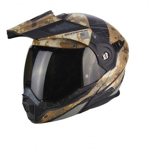 Scorpion Casco de moto ADX 1 BATTLEFLAGE Arena Gris, Negro/Arena, S