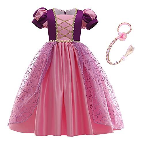 Disfraz de princesa Rapunzel de encaje corto de encaje de manga abullonada vestido de cosplay de Halloween vestido de fiesta de cumpleaños con trenza (5 años, morado 1)
