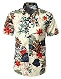 JOGAL Men's Flower Casual Button Down Short Sleeve Hawaiian Shirt X-Large White