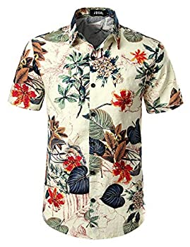 JOGAL Men s Flower Casual Button Down Short Sleeve Hawaiian Shirt Large White