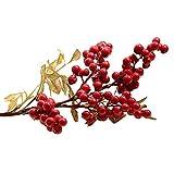 skyllc 10 pcs Fleurs artificielles, Fausses Fleurs Mousse Artificielle Baies Rouges Haricots, Bouquet de Mariage Nuptiale pour la Maison Jardin fête Mariage décoration de noël