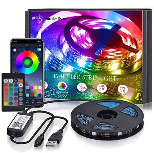 USB LED Strip, 5M RGB LED Streifen, SMD 5050 150 Leds Leiste, LED Lichtleiste, Farbwechsel LED Band mit IR Fernbedienung and APP Steuerbar Musik LED Band für Zuhause, Schlafzimmer, TV, Decke, Party