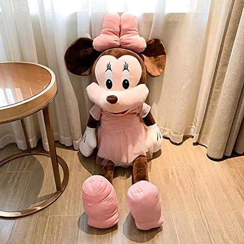Almohada de muñeca de Trapo de Juguete de Peluche de Mickey Mouse, Falda de Gasa muñeca de los Amantes de Mickey Minnie, Cama de muñeco Infantil Falda de Gasa de Regalo de Felpa Minnie 50cm