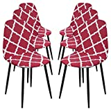 SearchI Fundas de Sillas Comedor Elásticas,6 PCS Estilo Nórdico Funda Silla Oficina sin Brazo Universal Antideslizante,Cubiertas de Sillas para Cocina Sala de Estar Hotel Hogar Decor,Vino Rojo