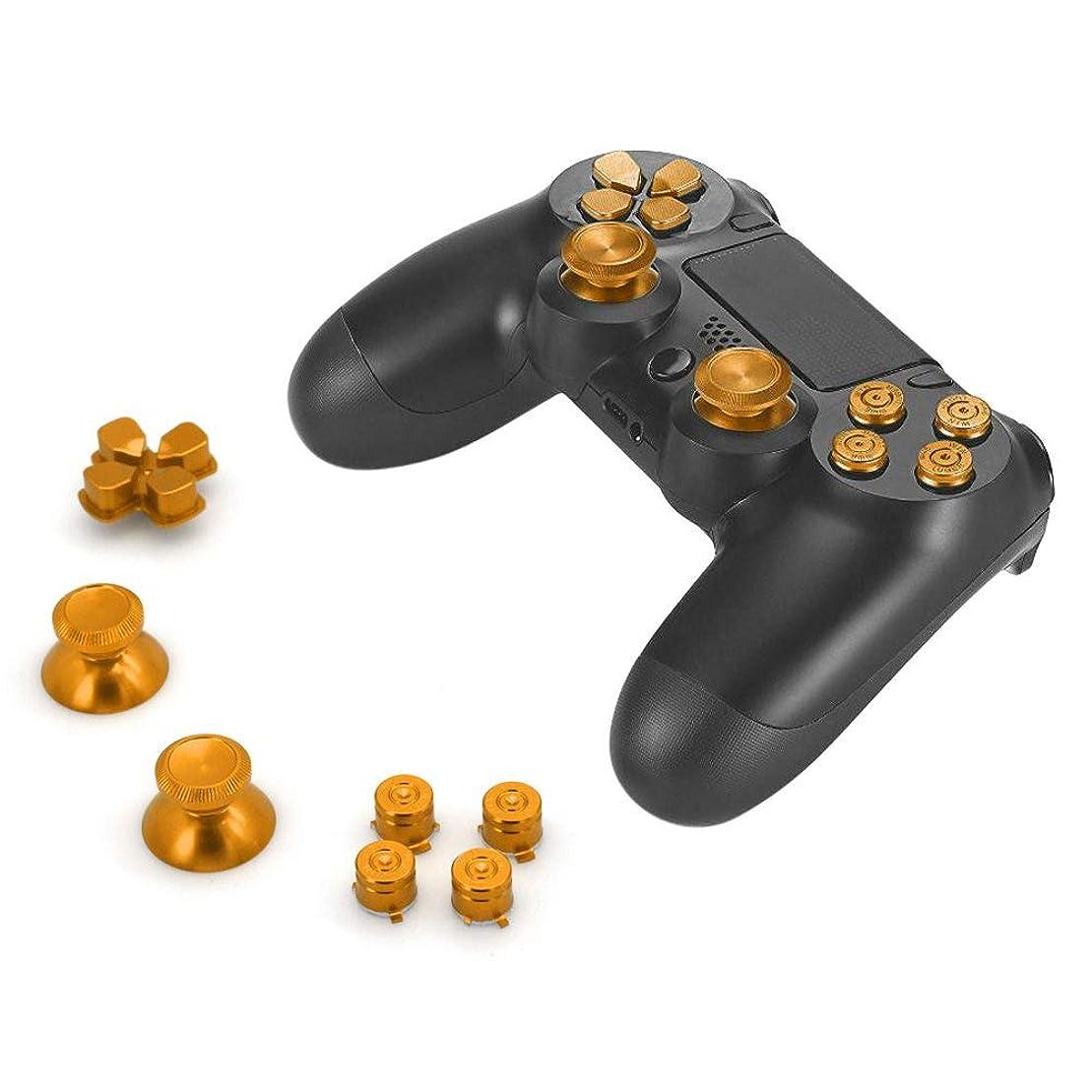 収縮記念巨人Moligh doll アルミ合金ボタン帽子サムスティックスペアパーツアクセサリー、 4 Dualshock コントローラ用(ゴールド)