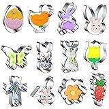Moldes para galletas de Pascua de 12 piezas, juego de cortadores de galletas de acero inoxidable, cortador de galletas de animales, pollito, huevo de Pascua, zanahoria, mariposa, conejito gateando