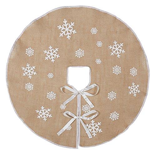 Marry acting - Protezione per base di albero di Natale in tela ruvida, stile rustico, decorata con fiocchi di neve bianchi stampati, 76,2 cm, decorazione natalizia per interni ed esterni