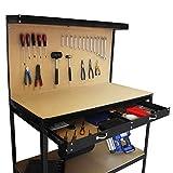 Garage Workbench With Pegboard Drawer Heavy Duty Bench Steel Tool Storage Station Unit