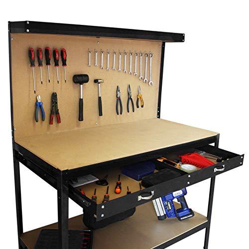 Banco de Trabajo Mesa de Trabajo Encimera de Trabajo Gancho Pared Cajón Almacenamiento Taller Garaje Resistente Bricolaje Negro