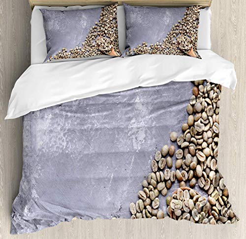 Double Size Bedding Duvet Cover Set Espresso Cover Set, Top View Picture of Poured Green Coffee Beans with a Wooden Spoon, Decorative 3 PCS Bedding Set, Ceil Blue And Dark Eggshell
