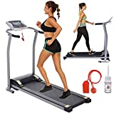 Electric Folding Treadmill for Home with LCD Monitor,Pulse Grip and Safe Key Fitness Motorized Running Jogging Walking Exercise Machine Space Saving for Home Office Easy Assembly (Silver)