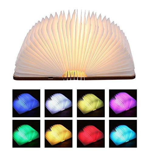 Led Buchlampe, 360° Faltbar Buch Lampen Leselicht Dimmbar Tischleuchte Nachtlicht aus Holz mit USB Kabel und Batterie, Beste Leselampe Buchlicht Geschenk Set für Kinder, 8 Farbe Wählbar, 12 x 9 cm