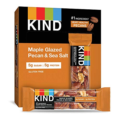 KIND Bars, Maple Glazed Pecan & Sea Salt, Gluten Free, Low Sugar, 1.4oz, 12 Count