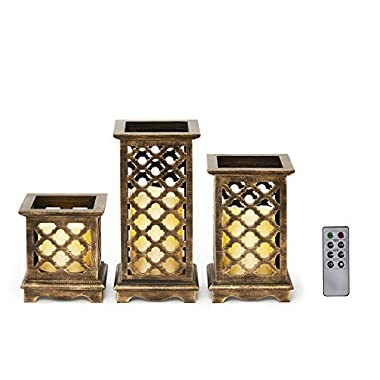 Flameless Candle Lanterns with Remote, Warm White LEDs, Wood with Bronze Undertones, Indoor/Outdoor Use, Batteries Included, Set of 3