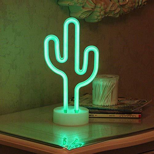 XHSHLID Led-nachtlampje voor slaapkamer, cactusdecoratie voor feestjes, thuis, lamp, wandlamp, batterij, nachtlampje voor kinderen, creatieve verlichting, neon