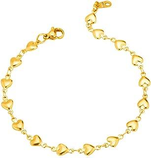 Women Girls Stainless Steel Link Heart Charm Bracelet, Valentines/Lover Gift Jewelry