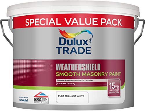 Dulux Trade Weathershield Smooth Masonry Paint Pure Brilliant White 7.5...