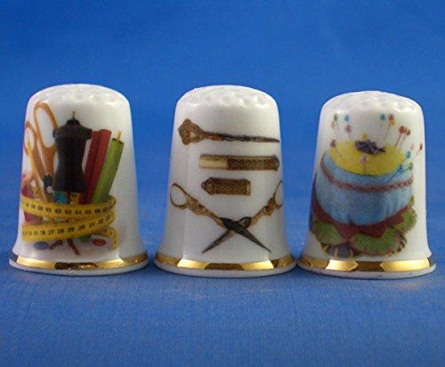 Porcelana China colección de dedales Juego de tres de costura herramientas