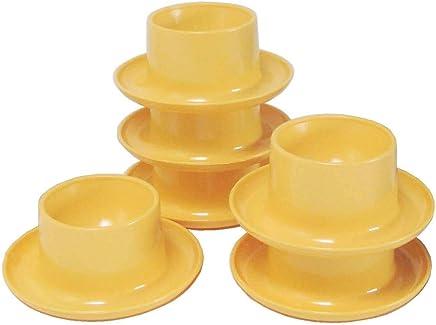 Preisvergleich für Eierbecher rund, 6-er Pack, pastell-gelb - Sonja-PLASTIC - Made in Germany