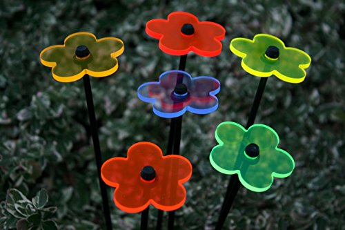 6er Set Ø5cm Leuchtblumen Nr.1 Sonnenfänger Gartenstecker
