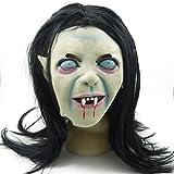 ULTNICE Halloween Horrific Mask Creepy Terrifying Toothy Zombie Ghost Sadako Mask with Hair for Cosplay Costume