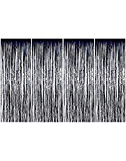 Black 100CM X 250CM 4 Pack Foil Curtains Metallic Fringe Curtains Shimmer Curtain for Birthday Wedding Party Christmas Decorations Metallic Foil Fringe Tinsel Curtain Happy Birthday Party Decoration-s