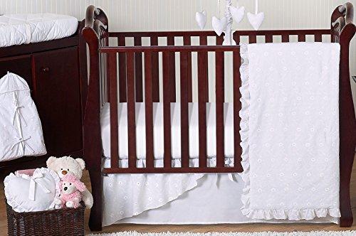 Designer Solid All White Eyelet Baby Girl Bedding 11pc Crib Set