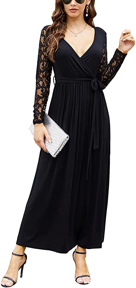 Poetsky Womens Wrap V Neck Floral Lace Sleeve Formal Party Long Maxi Dress with Belt