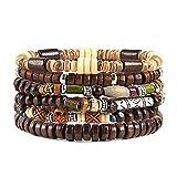 HZMAN Wrap Bracelets Men Women, Hemp Cords Wood Beads Ethnic Tribal Bracelets,...