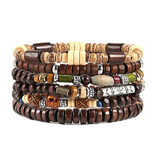HZMAN Wrap Bracelets Men Women, Hemp Cords Wood Beads Ethnic Tribal Bracelets, Leather Wristbands (Bohemian Style)