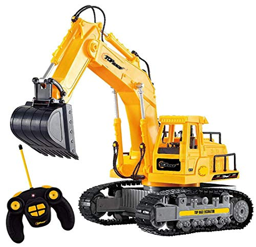 Top Race 7 Channel Full Functional RC Excavator, Battery Powered Electric RC Remote Control Construction Tractor with Lights and Sound. TR-111