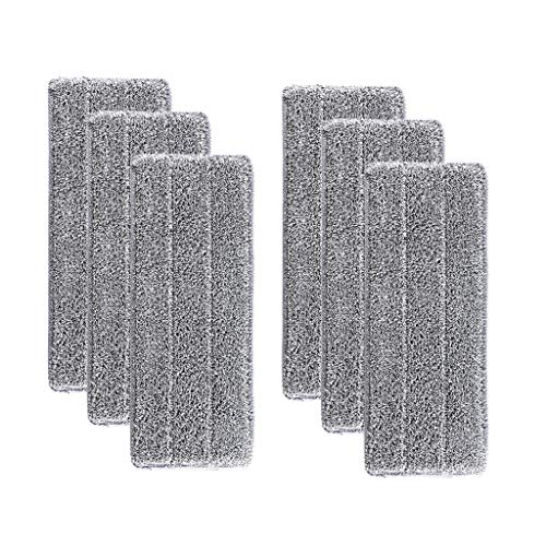 Flip Mop Refills Replacement Pads, Microfiber Head Floor Mops, Dry/Wet, Machine Washable, Double Sided Flat Sponge,Suitable for All Surface Cleaning (Gray, 6PCS)