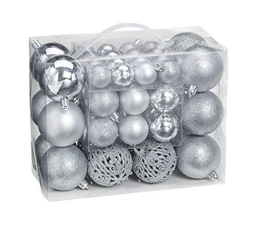 WOMA Juego de Bolas de Navidad en 14 Colores navideños – 50 y 100 Bolas de Navidad Plata de plástico – Oro, Plata, Rojo & Bronce/Cobre UVM. – Decoración para árbol de Navidad y decoración